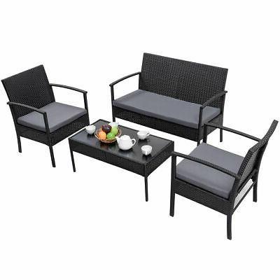4 Patio Rattan Furniture Table Cushioned Black