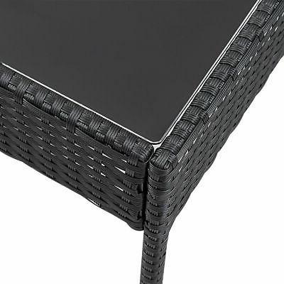 4 PCS Outdoor Patio Rattan Wicker Furniture Table Sofa Deck Black