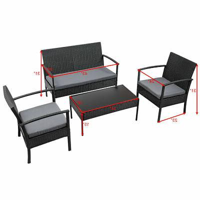 4 Patio Rattan Table Cushioned Black