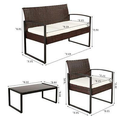 4 PCS Outdoor Sofa Rattan