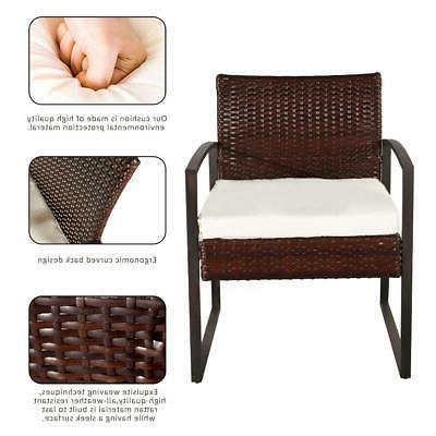 4 PCS Patio Sofa Wicker Sectional Furniture Set Garden