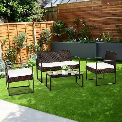 4 pcs outdoor patio sofa rattan wicker