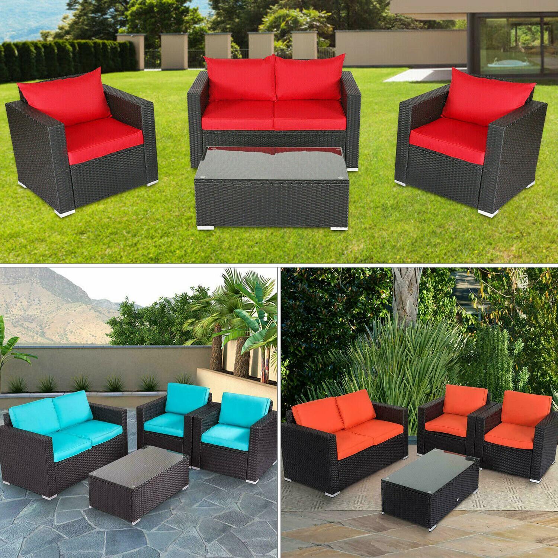 4 pcs patio furniture sectional sofa set