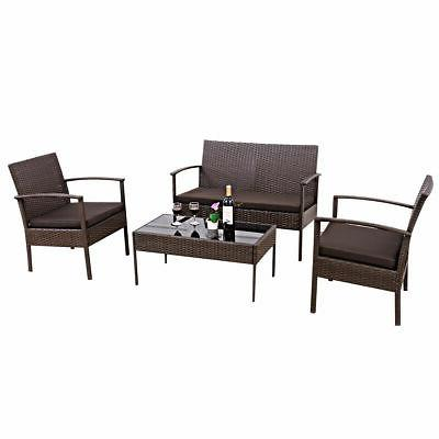 4 Patio Wicker Sofa Garden New