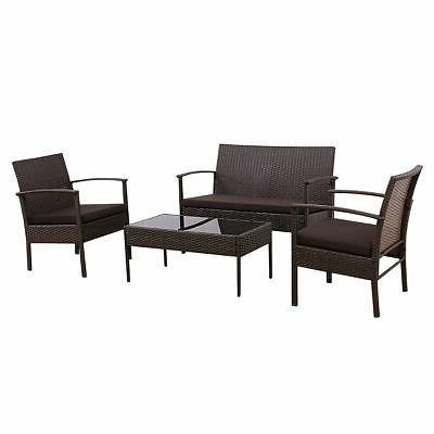 4 Wicker Furniture Sofa Cushioned Garden
