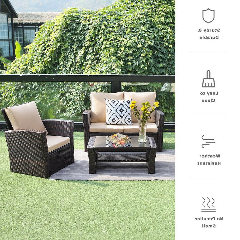 4 Pieces Outdoor Furniture Sectional Sofa Rattan