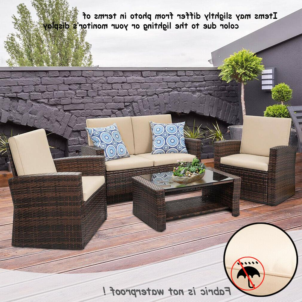 4 Pieces Outdoor Furniture Sectional Rattan Wicker