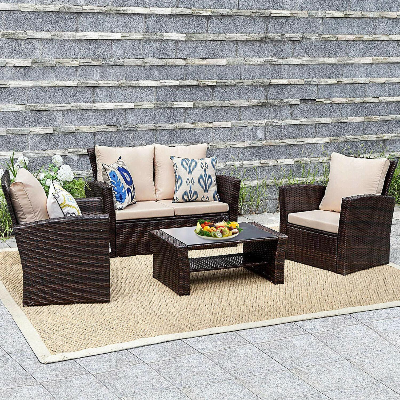 4 Furniture Sets Sectional Sofa Rattan