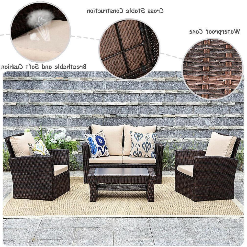4 Pieces Furniture Sets Rattan Wicker