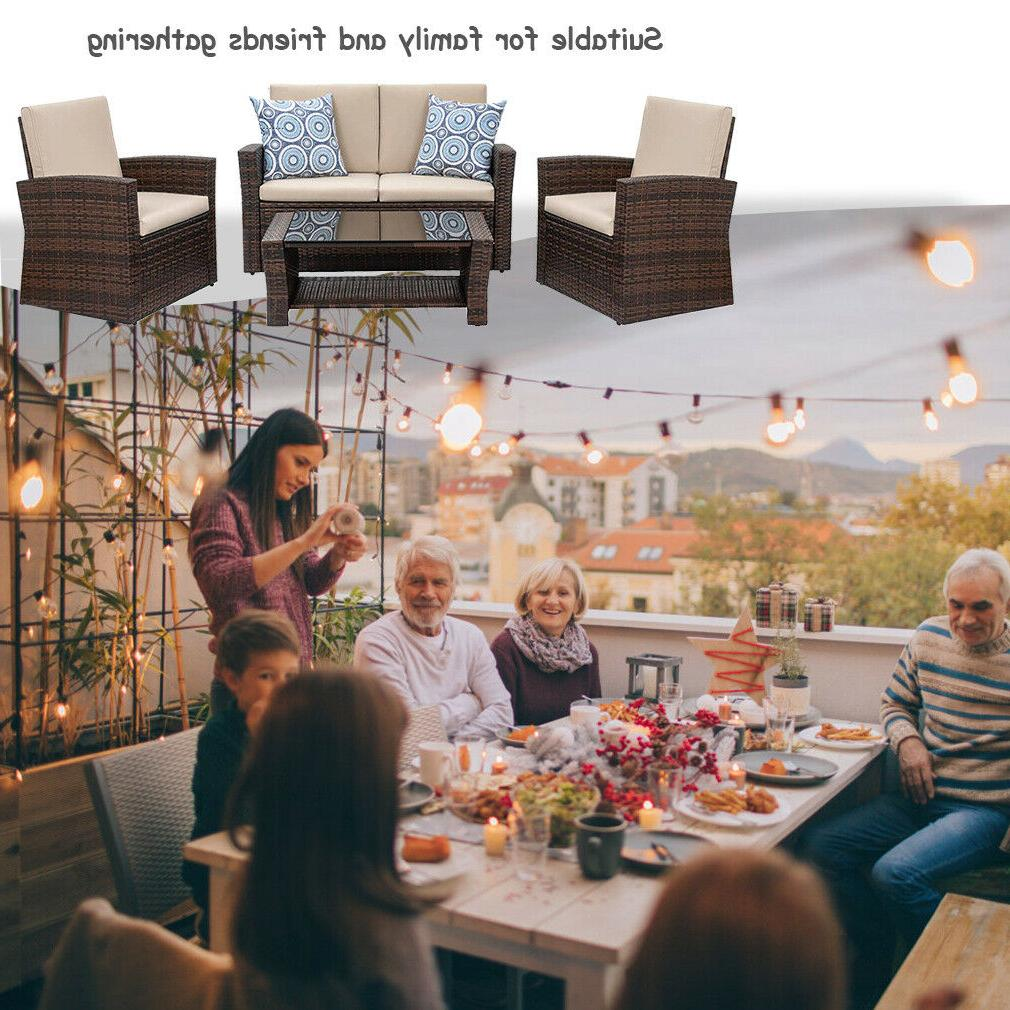 4 Furniture Sectional Sofa Rattan Chair