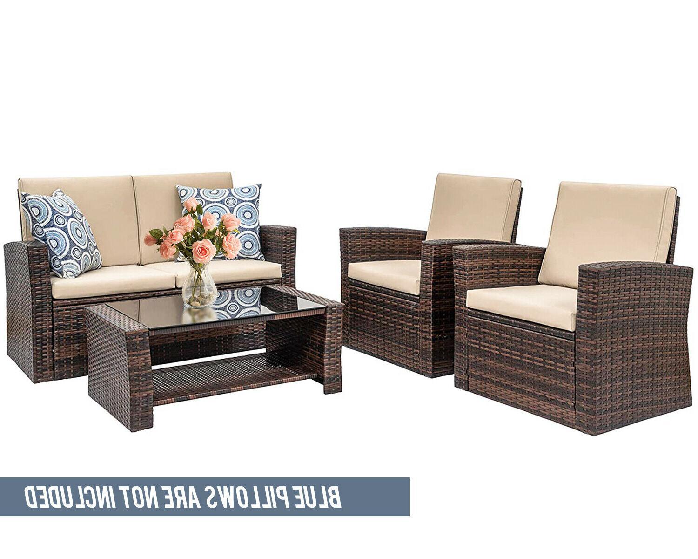 4 Outdoor Furniture Rattan Wicker
