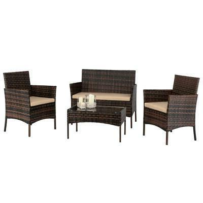 4pc outdoor patio lawn sofa set rattan