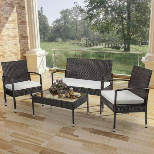 4PC Patio Furniture Ratten Set w/Cushion Chair&Table