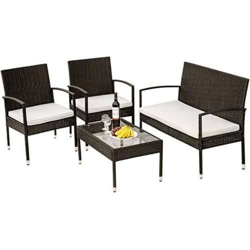 4PC Seating Patio Furniture w/Cushion Chair&Table Garden