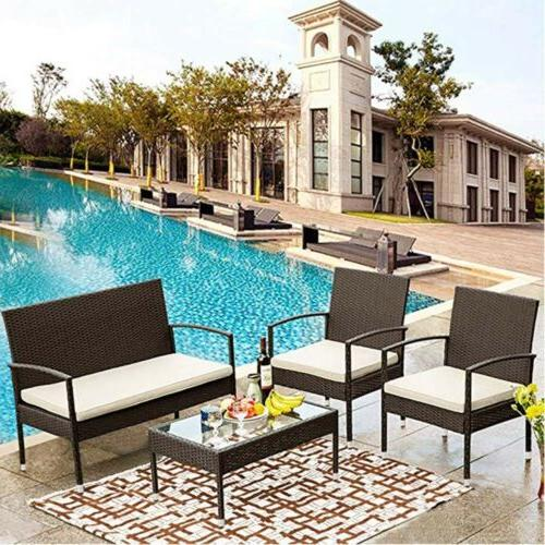 4pc outdoor sofa seating patio furniture ratten
