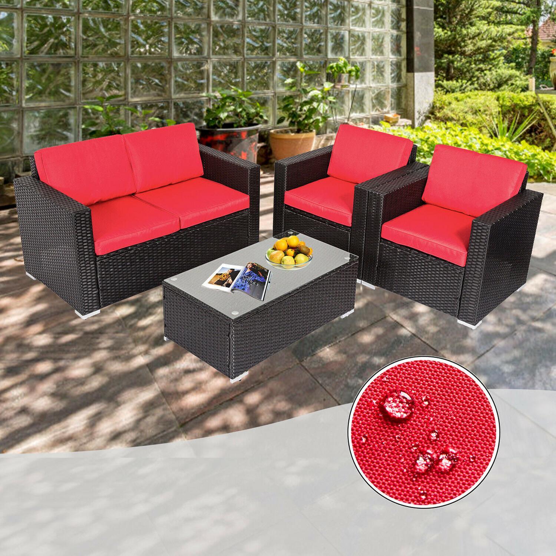 4PC Rattan Garden Furniture
