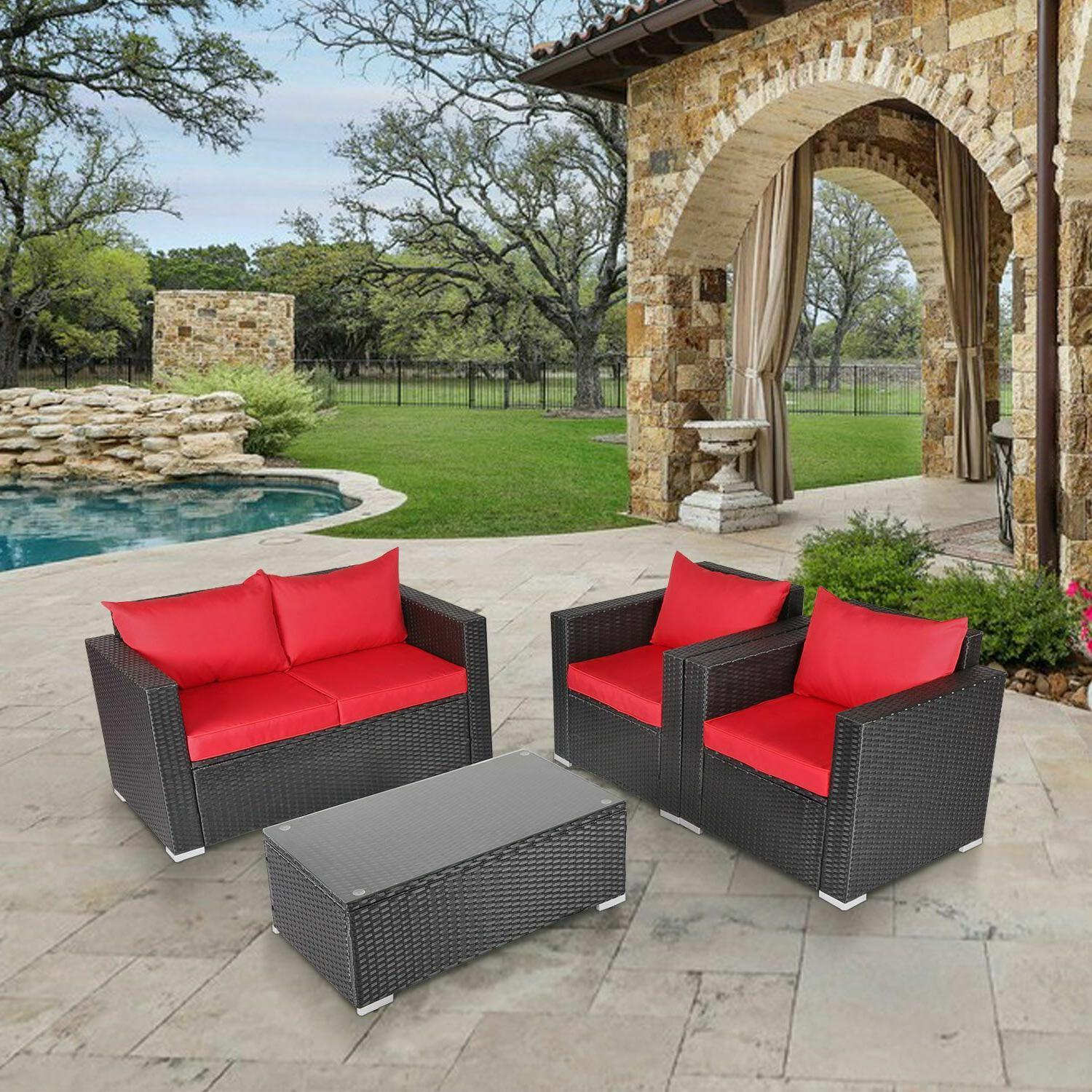 4PC Outdoor Set Sectional Cushioned Couch
