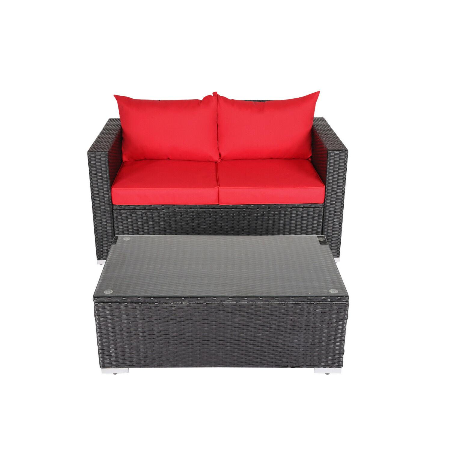 4PC Set Cushioned Couch Garden Patio