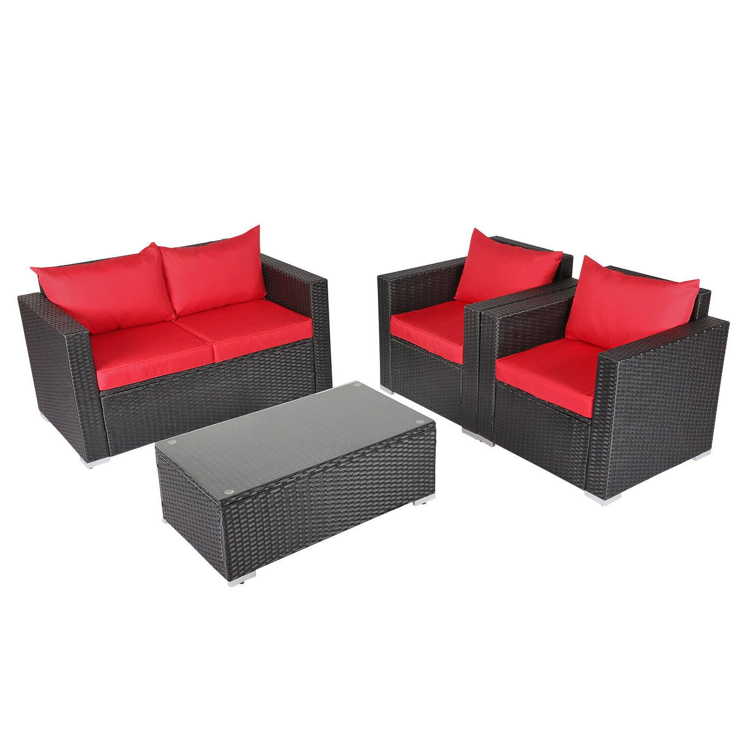 4PC Set Sectional Cushioned Garden