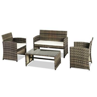 4PC Rattan Outdoor Patio Furniture Set Lawn