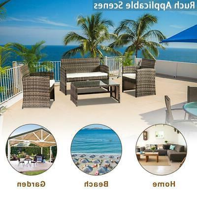 4PC PE Outdoor Patio Lawn Loveseat Sofa Wicker