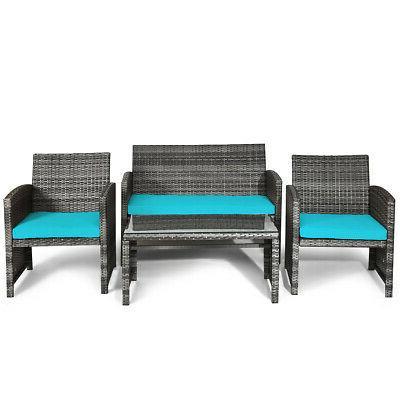 4PCS Outdoor Set Rattan Wicker Sofa Set W/ Cushions