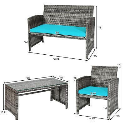 4PCS Outdoor Set Wicker Conversation Sofa Set