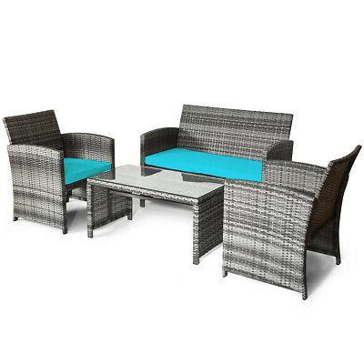 4PCS Set Rattan Sofa W/