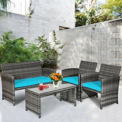 4PCS Outdoor Furniture Set Wicker Sofa W/