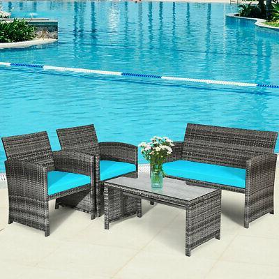 4pcs outdoor patio furniture set rattan wicker
