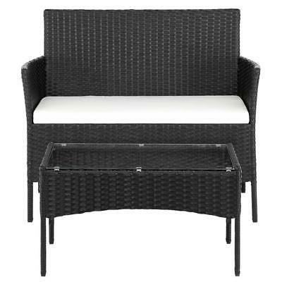 4PCS Outdoor Patio Black Table Furniture Set