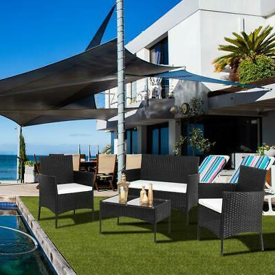 4PCS Patio Rattan Black Wicker Table Furniture Set Cushions