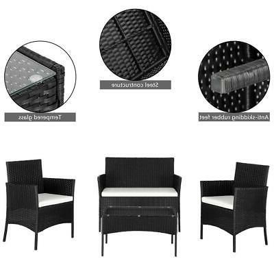 4PCS Outdoor Patio Black Table Sofa Furniture Set Cushions