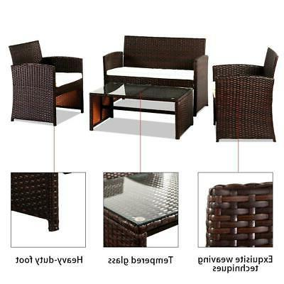 4PCS Outdoor Furniture Set Wicker