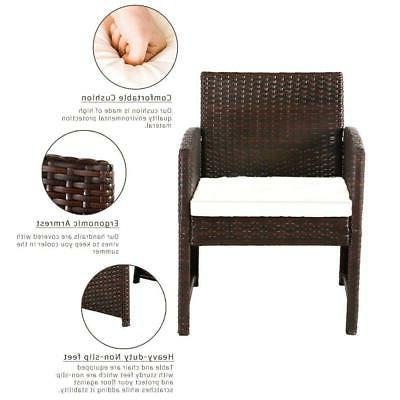 4PCS Set Rattan Seating Wicker Chair with