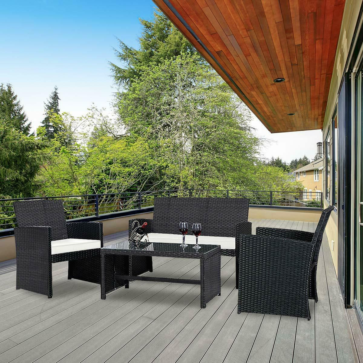 4pcs patio furniture set with coffee table