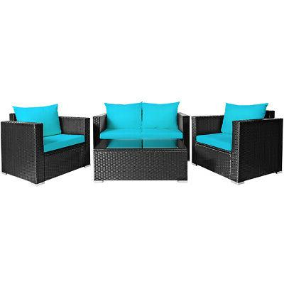 4PCS Set Sofa Chair Coffee Table Turquoise