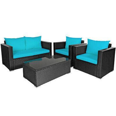 4PCS Rattan Set Cushioned Chair Coffee
