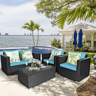 4PCS Patio Set Sofa Chair Coffee Turquoise