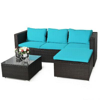 4PCS Rattan Set Loveseat Cushioned Garden Yard