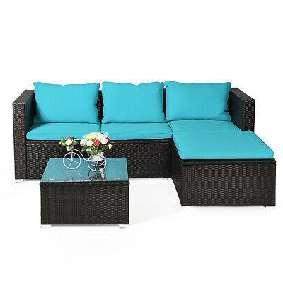 4PCS Rattan Furniture Set Loveseat Garden