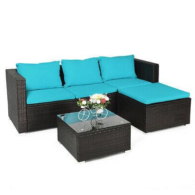4pcs patio rattan furniture set loveseat chair