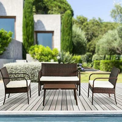 Patio Seating Set 4Pc Outdoor Loveseat Table Chair Cushion G