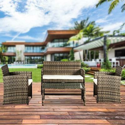 Patio Wicker Furniture Outdoor 4PC Rattan Sofa Garden Conver