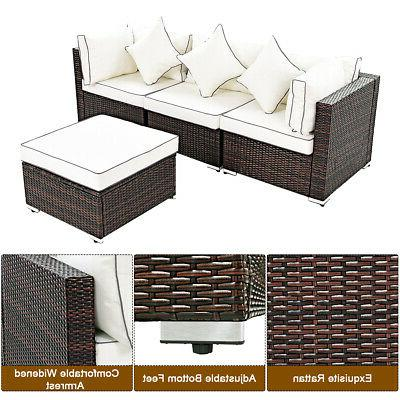 4PCS Wicker Furniture Set Lawn Sofa
