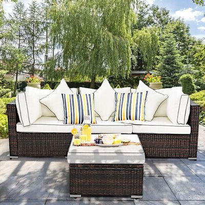 4PCS Furniture Patio Lawn Cushioned