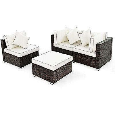 4PCS Rattan Furniture Lawn Sofa Cushioned Seat