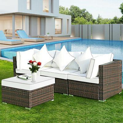 4PCS Rattan Furniture Set Patio Garden Lawn Sofa