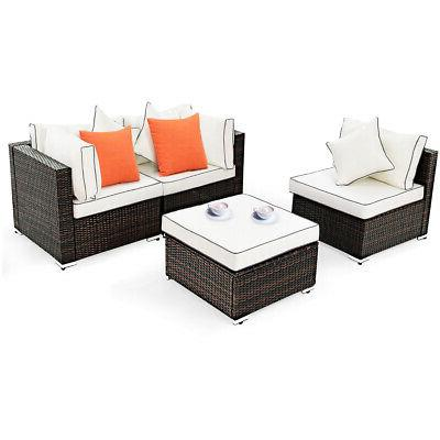 4pcs wicker rattan sofa furniture set patio