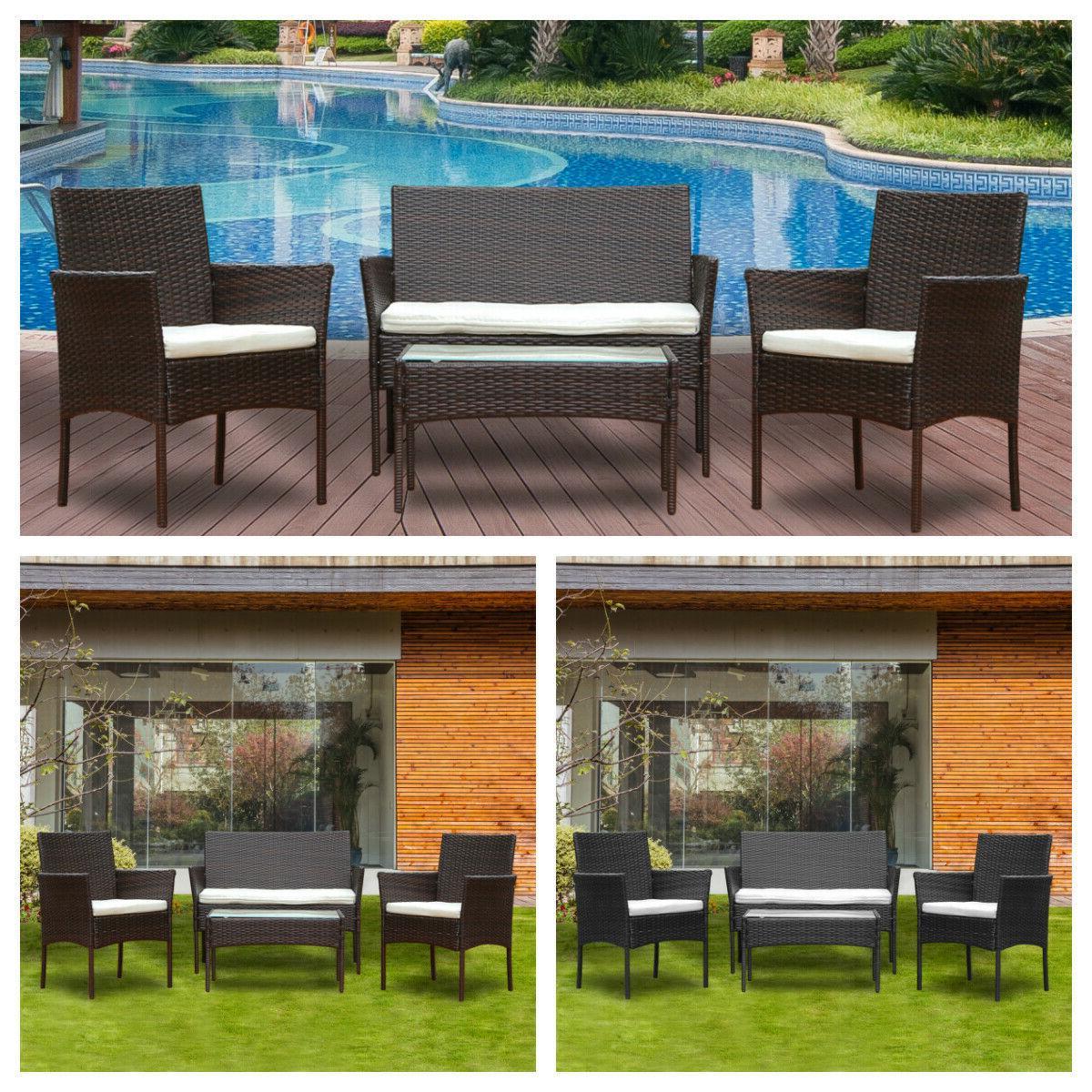 patio 4 pcs wicker furniture outdoor rattan
